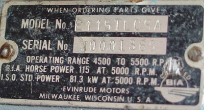 115 hp evinrude outboard boat motor for sale for Johnson motor serial number