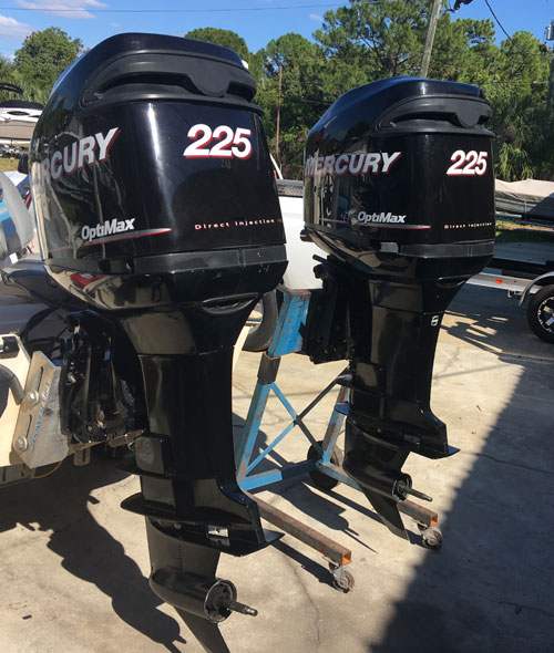 Twin 225 hp Mercury Optimax Outboards