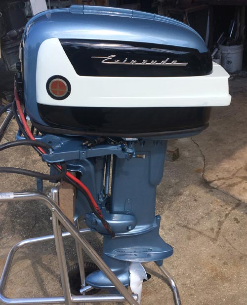 1958 35 hp evinrude outboard antique boat motor for sale for Used twin outboard motors for sale