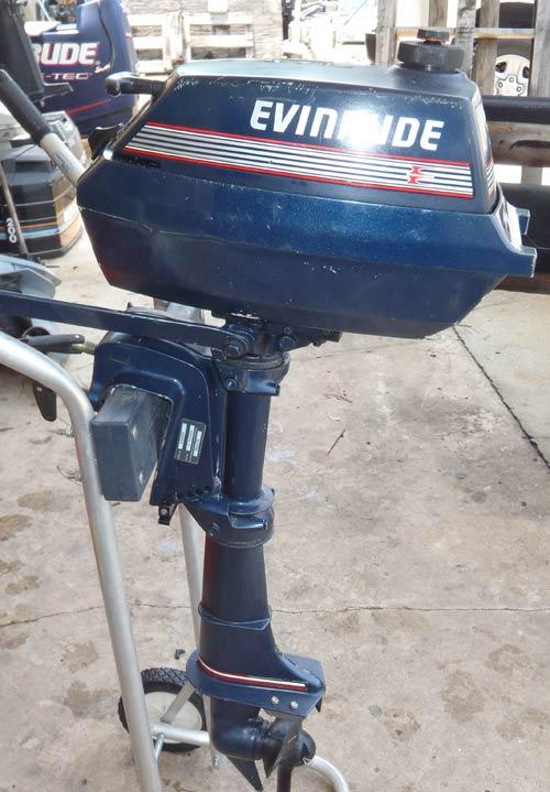 Used 3 hp Evinrude 2 Cylinder Outboard Boat Motor