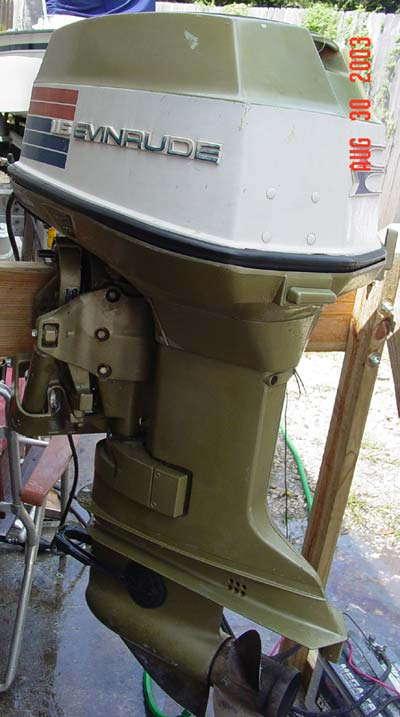 Side on 1974 85 Hp Johnson Outboard Motor