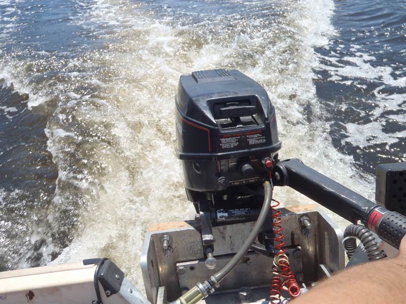 Running on Gamefisher 15 Hp Outboard