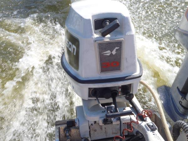 30 hp johnson long shaft outboard boat motor for sale for Long shaft trolling motor for sale