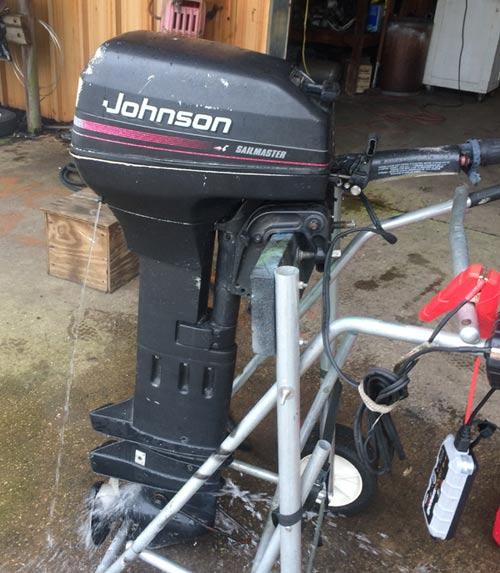 Johnson extra long shaft outboard boat motor for sale for Long shaft trolling motor for sale