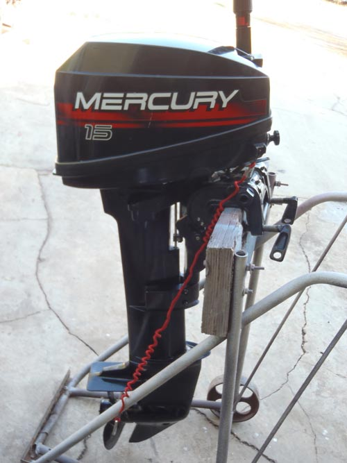 Side on 15 Hp Mercury Outboard Motor
