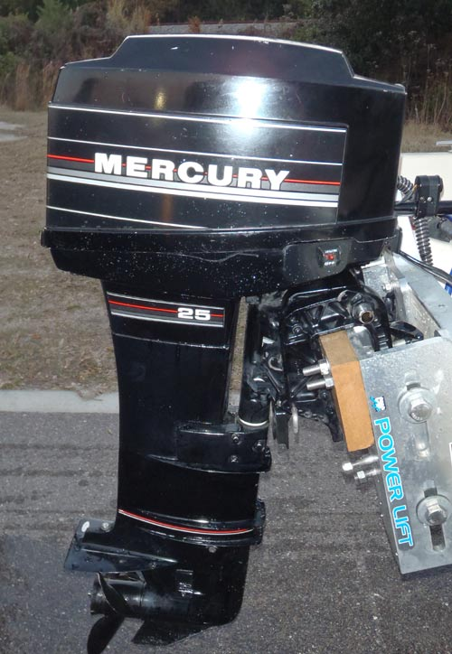 Mercury 25 hp long shaft electric start outboard for Small 2 stroke outboard motors for sale