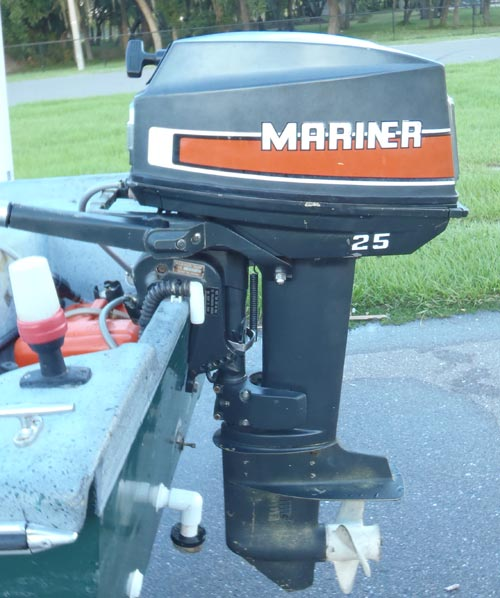 Used Small Boat Engines For Sale: 25 Hp Mercury Mariner Outboard Boat Motor For Sale