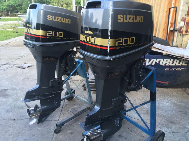 Twin 200 hp suzuki efi 2 stroke outboard boat motors for sale for Small 2 stroke outboard motors for sale